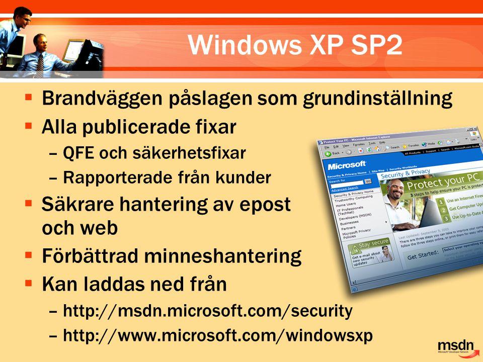 Windows XP SP2  Brandväggen påslagen som grundinställning  Alla publicerade fixar –QFE och säkerhetsfixar –Rapporterade från kunder  Säkrare hanter