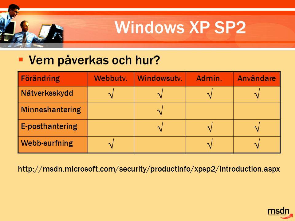 Windows XP SP2  Vem påverkas och hur? http://msdn.microsoft.com/security/productinfo/xpsp2/introduction.aspx FörändringWebbutv.Windowsutv.Admin.Använ