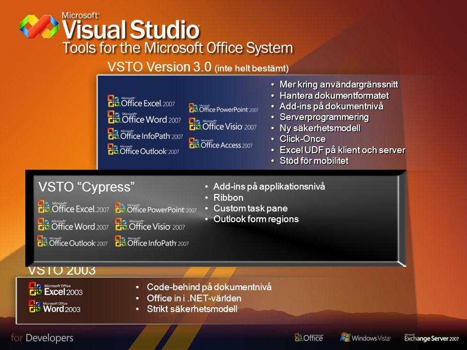 VSTO 2003 – v1 Code- Behind modell Full access till.NET Framework