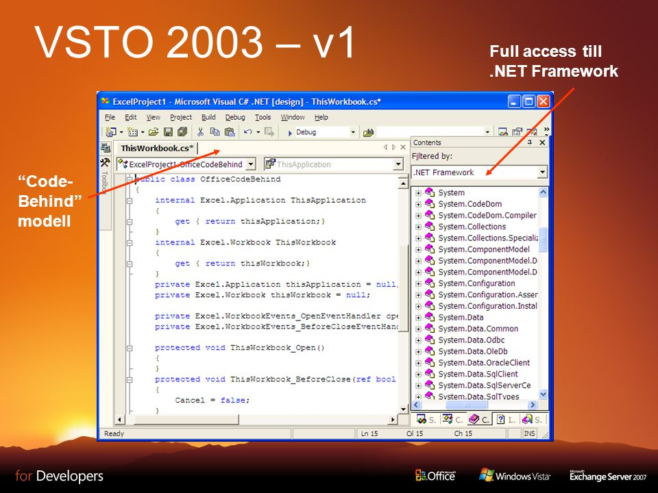 Excel/Word Designers View Controls Windows Forms kontroller ClickOnce Deployment VSTO 2005 – v2