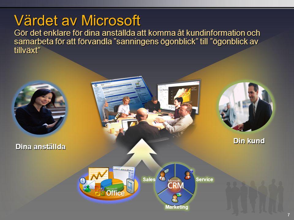 7 Värdet av Microsoft Gör det enklare för dina anställda att komma åt kundinformation och samarbeta för att förvandla sanningens ögonblick till ögonblick av tillväxt Din kund Dina anställda