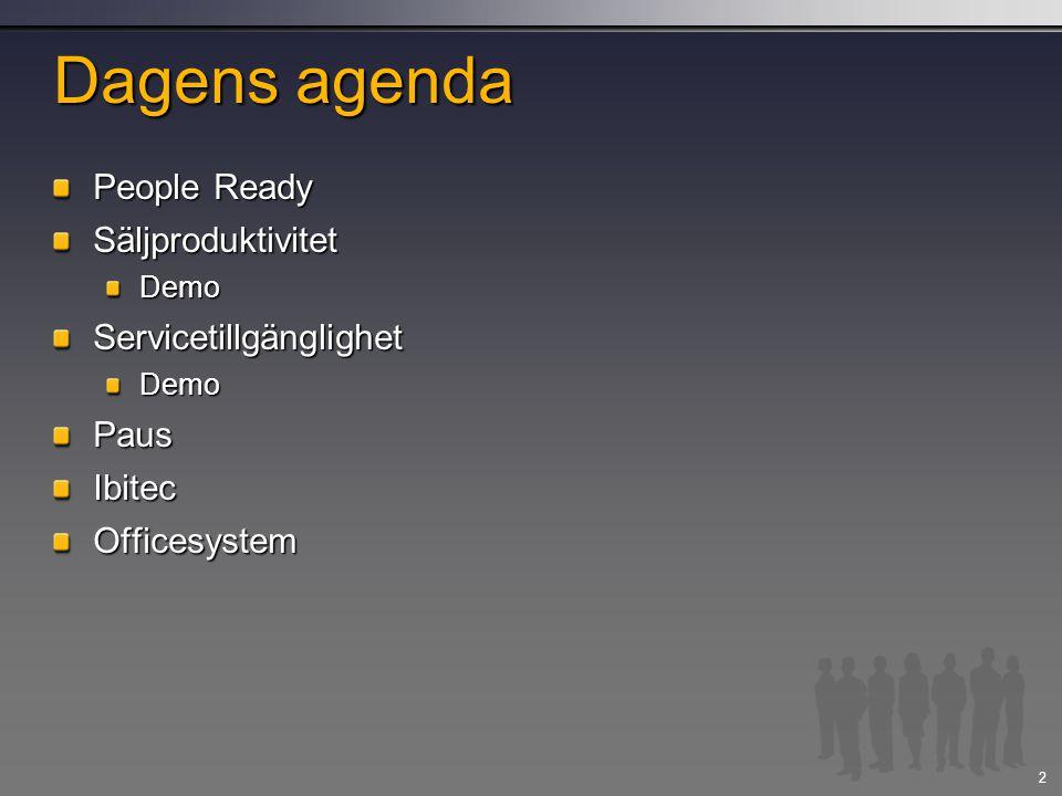 2 Dagens agenda People Ready SäljproduktivitetDemoServicetillgänglighetDemoPausIbitecOfficesystem