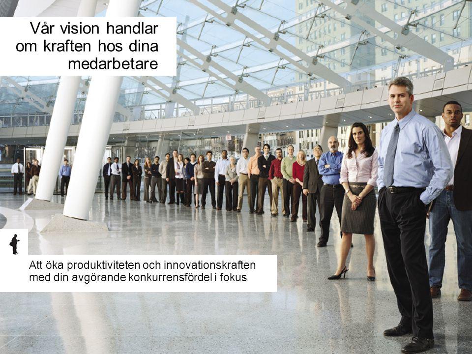 Vår vision handlar om kraften hos dina medarbetare Att öka produktiviteten och innovationskraften med din avgörande konkurrensfördel i fokus