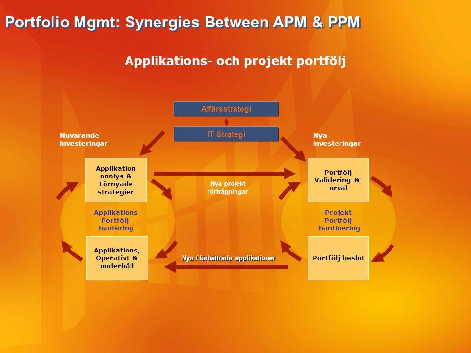 Applikation analys & Förnyade strategier Applikations, Operativt & underhåll Applikations Portfölj hantering Portfölj Validering & urval Portfölj besl