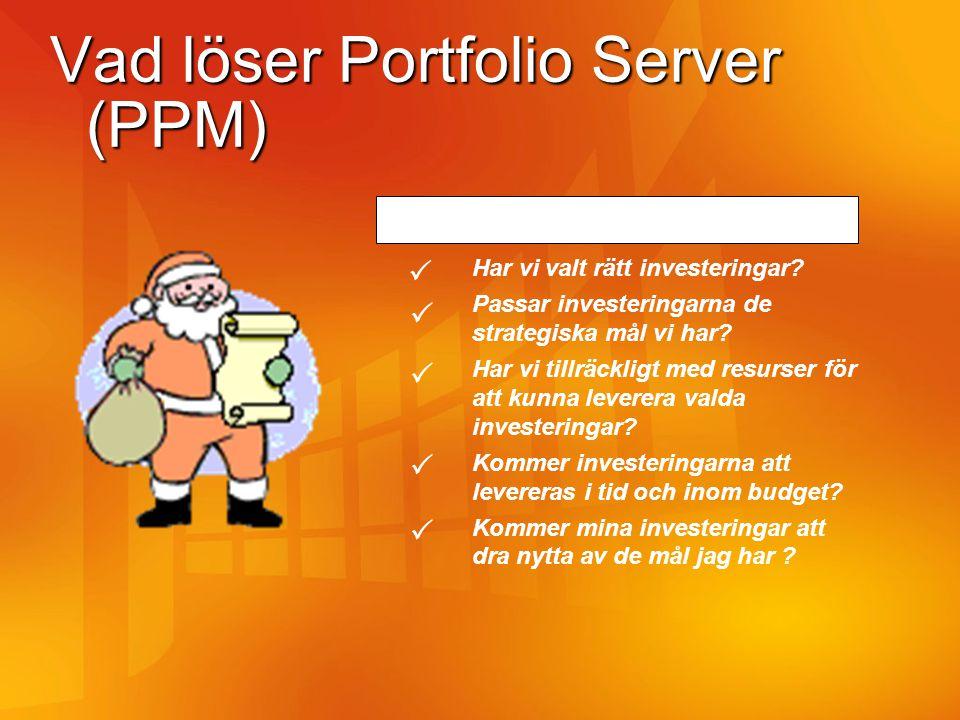 Vad löser Portfolio Server (PPM) PPM svarar på följande frågeställningar: Har vi valt rätt investeringar? Passar investeringarna de strategiska mål vi