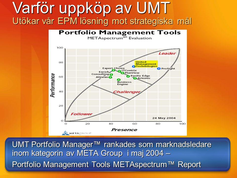 UMT varit med länge UMT bildades 1989 UMT har implementerat PPM hos ett 50-tal kunder bland Fortune 500 företag.