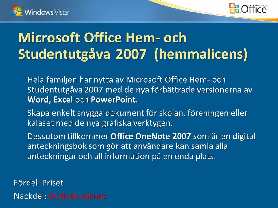 Microsoft Office Hem- och Studentutgåva 2007 (hemmalicens) Hela familjen har nytta av Microsoft Office Hem- och Studentutgåva 2007 med de nya förbättrade versionerna av Word, Excel och PowerPoint.