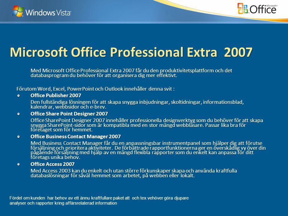 Microsoft Office Professional Extra 2007 Med Microsoft Office Professional Extra 2007 får du den produktivitetsplattform och det databasprogram du behöver för att organisera dig mer effektivt.