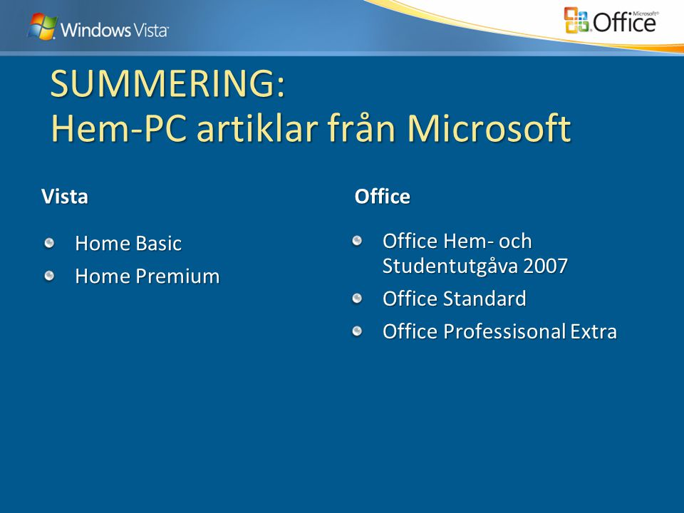 SUMMERING: Hem-PC artiklar från Microsoft Vista Home Basic Home Premium Office Office Hem- och Studentutgåva 2007 Office Standard Office Professisonal