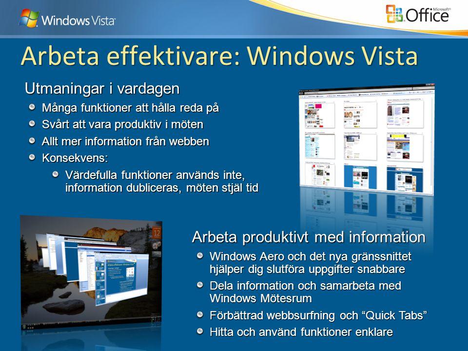 Arbeta effektivare: Windows Vista Arbeta produktivt med information Windows Aero och det nya gränssnittet hjälper dig slutföra uppgifter snabbare Dela information och samarbeta med Windows Mötesrum Förbättrad webbsurfning och Quick Tabs Hitta och använd funktioner enklare Utmaningar i vardagen Många funktioner att hålla reda på Svårt att vara produktiv i möten Allt mer information från webben Konsekvens: Värdefulla funktioner används inte, information dubliceras, möten stjäl tid