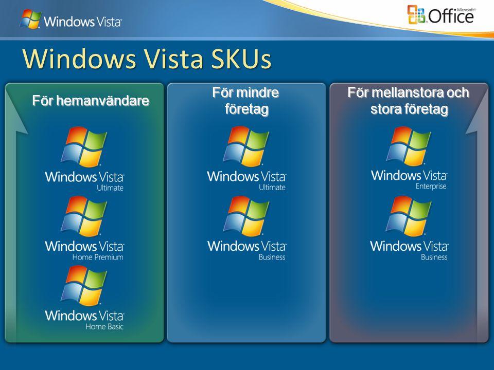 För hemanvändare För mellanstora och stora företag För mindre företag Windows Vista SKUs