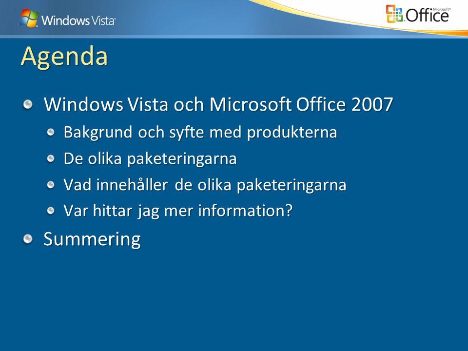 Agenda Windows Vista och Microsoft Office 2007 Bakgrund och syfte med produkterna De olika paketeringarna Vad innehåller de olika paketeringarna Var hittar jag mer information.