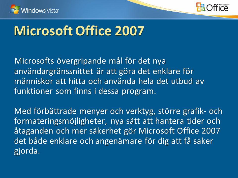 Microsoft Office 2007 Microsofts övergripande mål för det nya användargränssnittet är att göra det enklare för människor att hitta och använda hela det utbud av funktioner som finns i dessa program.