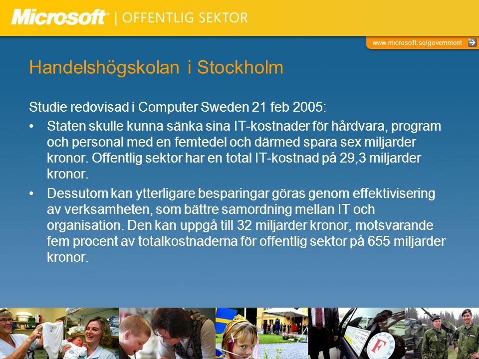 www.microsoft.se/government Handelshögskolan i Stockholm Studie redovisad i Computer Sweden 21 feb 2005: Staten skulle kunna sänka sina IT-kostnader för hårdvara, program och personal med en femtedel och därmed spara sex miljarder kronor.