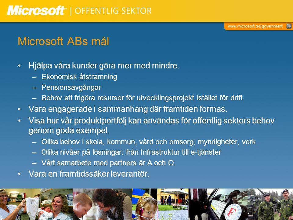 www.microsoft.se/government Microsoft inom offentlig sektor Personal på Microsoft AB inom offentlig sektor –Många är rekryterade från kommuner, landsting, myndigheter/verk, utbildningsväsendet