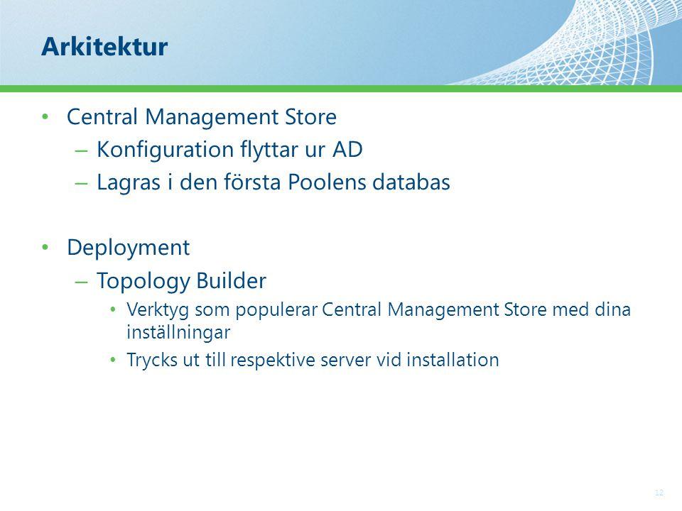 Arkitektur 12 Central Management Store – Konfiguration flyttar ur AD – Lagras i den första Poolens databas Deployment – Topology Builder Verktyg som populerar Central Management Store med dina inställningar Trycks ut till respektive server vid installation