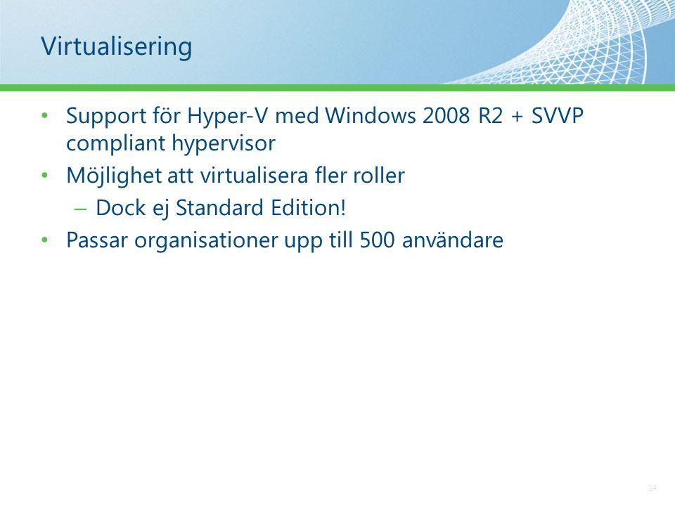 Virtualisering 14 Support för Hyper-V med Windows 2008 R2 + SVVP compliant hypervisor Möjlighet att virtualisera fler roller – Dock ej Standard Edition.