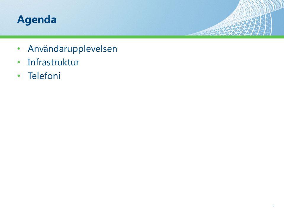 Agenda 5 Användarupplevelsen Infrastruktur Telefoni