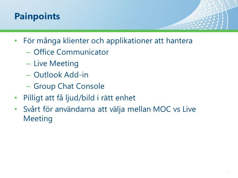Painpoints 7 För många klienter och applikationer att hantera – Office Communicator – Live Meeting – Outlook Add-in – Group Chat Console Pilligt att få ljud/bild i rätt enhet Svårt för användarna att välja mellan MOC vs Live Meeting