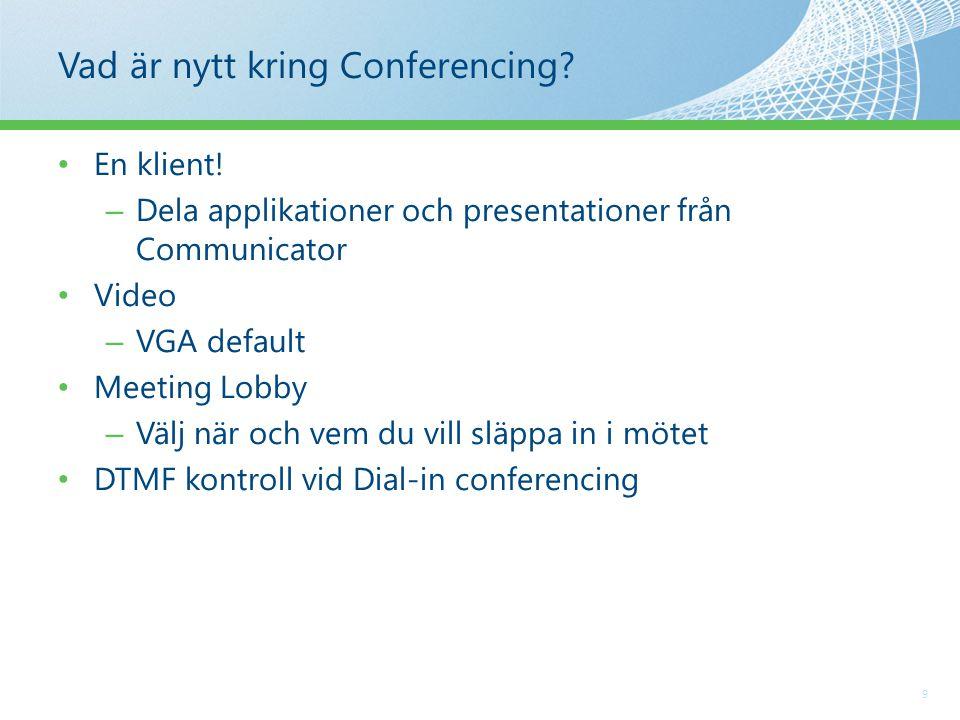 Vad är nytt kring Conferencing. 9 En klient.