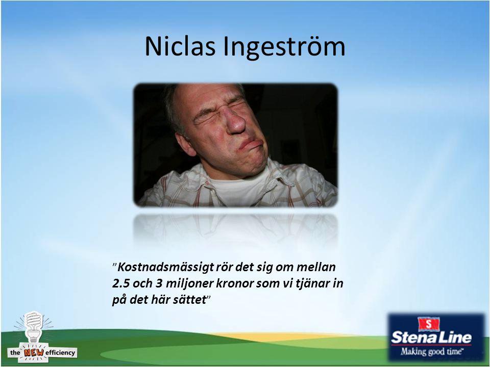 Niclas Ingeström Kostnadsmässigt rör det sig om mellan 2.5 och 3 miljoner kronor som vi tjänar in på det här sättet