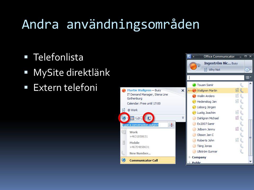 Andra användningsområden  Telefonlista  MySite direktlänk  Extern telefoni
