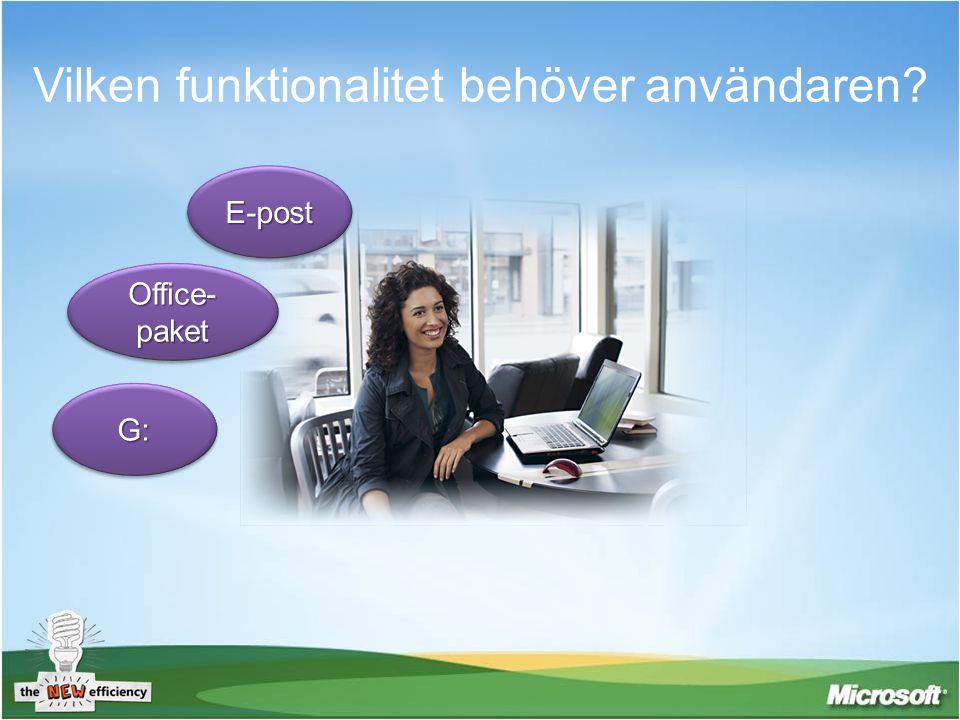 Vilken funktionalitet behöver användaren? E-postE-post G:G: Office- paket