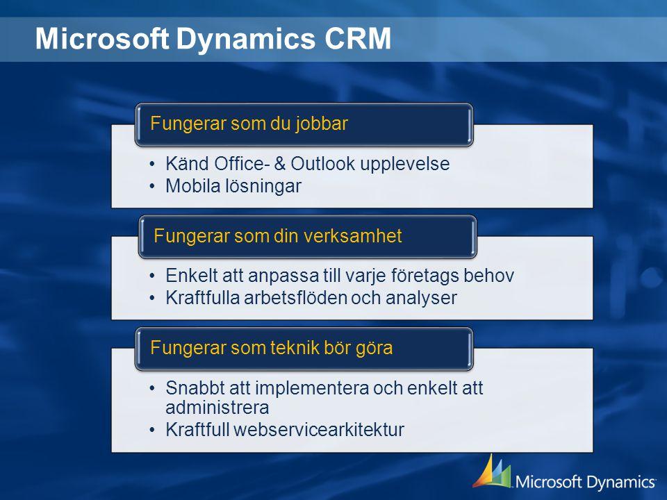Microsoft Dynamics CRM Känd Office- & Outlook upplevelse Mobila lösningar Fungerar som du jobbar Enkelt att anpassa till varje företags behov Kraftful