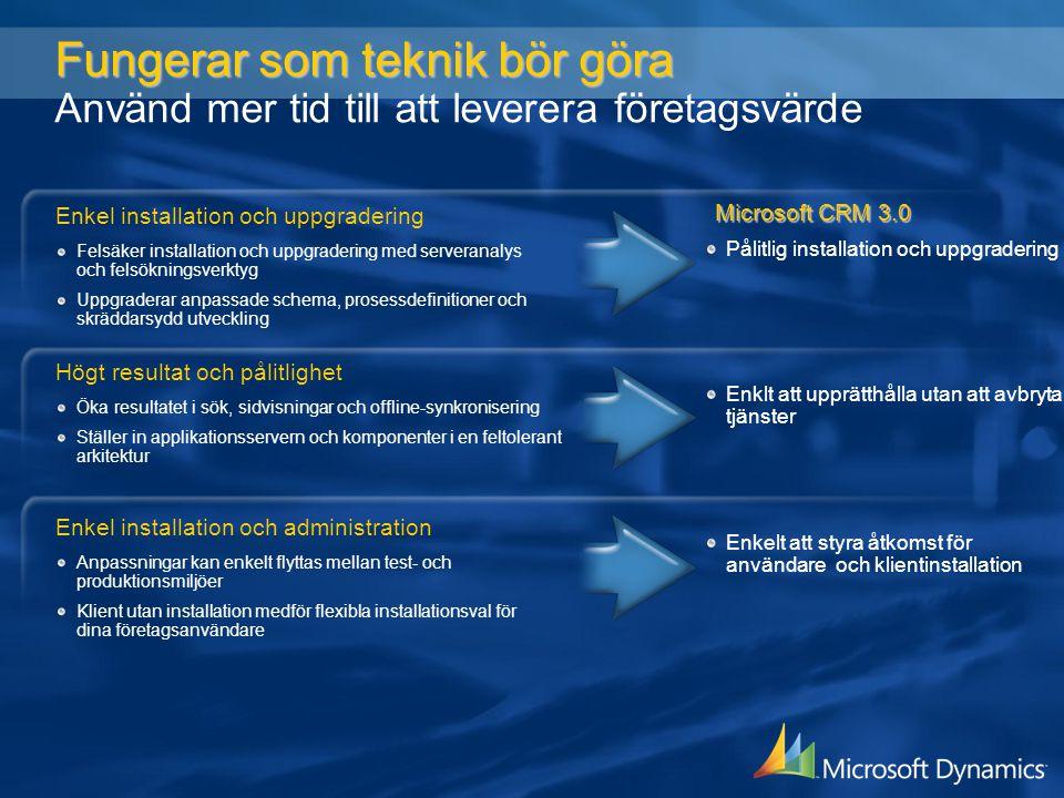 Fungerar som teknik bör göra Fungerar som teknik bör göra Använd mer tid till att leverera företagsvärde Pålitlig installation och uppgradering Enkelt