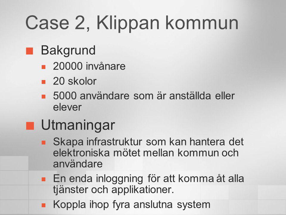Case 2, Klippan kommun Bakgrund 20000 invånare 20 skolor 5000 användare som är anställda eller elever Utmaningar Skapa infrastruktur som kan hantera d