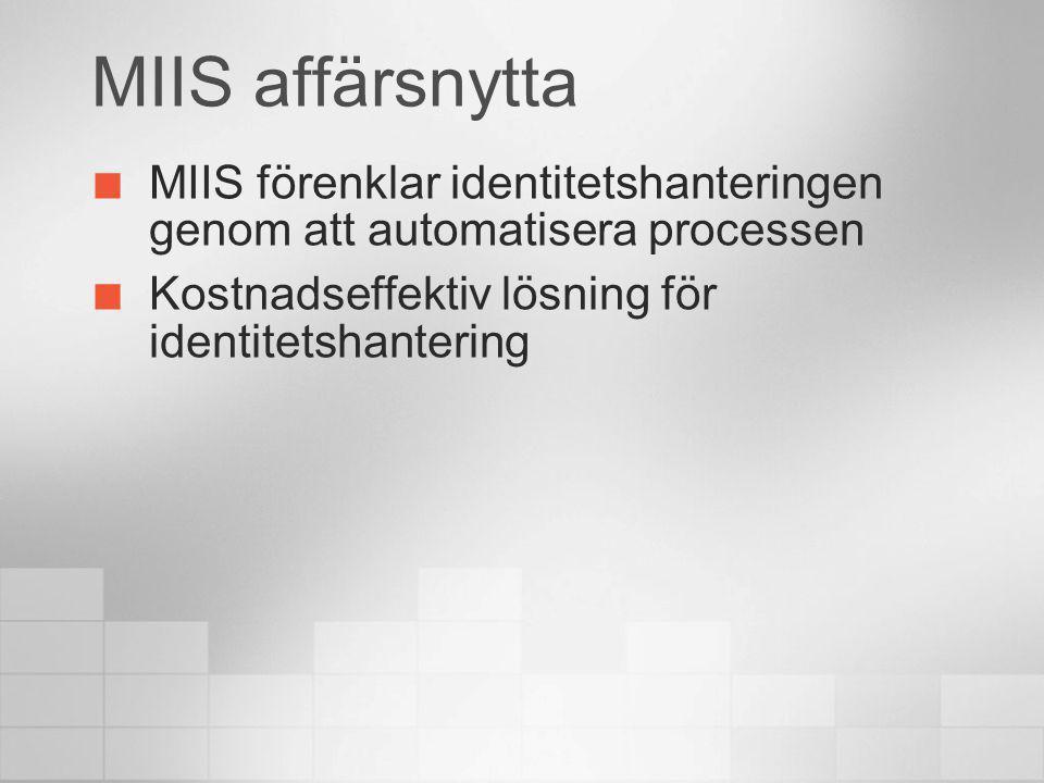 MIIS affärsnytta MIIS förenklar identitetshanteringen genom att automatisera processen Kostnadseffektiv lösning för identitetshantering