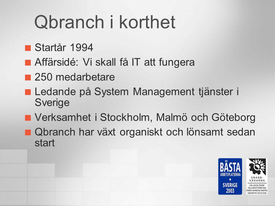 Startår 1994 Affärsidé: Vi skall få IT att fungera 250 medarbetare Ledande på System Management tjänster i Sverige Verksamhet i Stockholm, Malmö och G