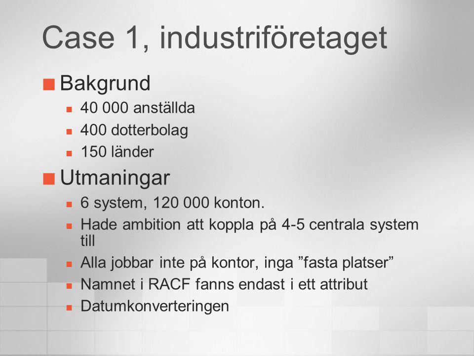 Case 1, industriföretaget Bakgrund 40 000 anställda 400 dotterbolag 150 länder Utmaningar 6 system, 120 000 konton. Hade ambition att koppla på 4-5 ce