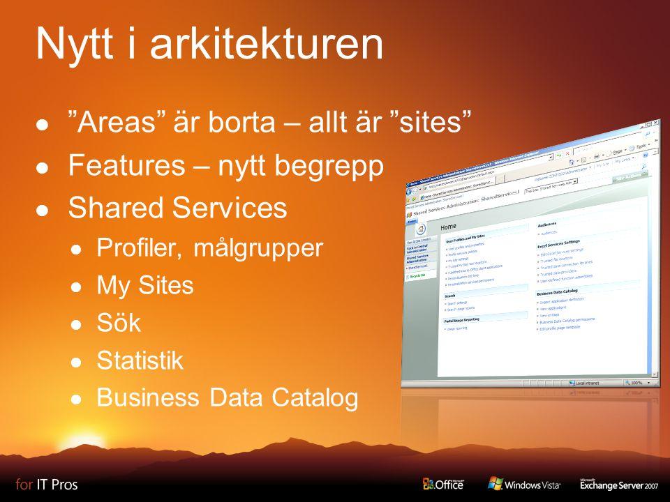 Windows SharePoint Services Platform Content Management Sök Formulär Portal Beslutsstöd Samarbete Funktionsområden