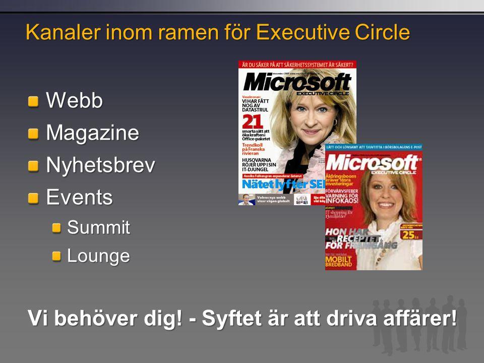 Kanaler inom ramen för Executive Circle WebbMagazineNyhetsbrevEventsSummitLounge Vi behöver dig! - Syftet är att driva affärer!