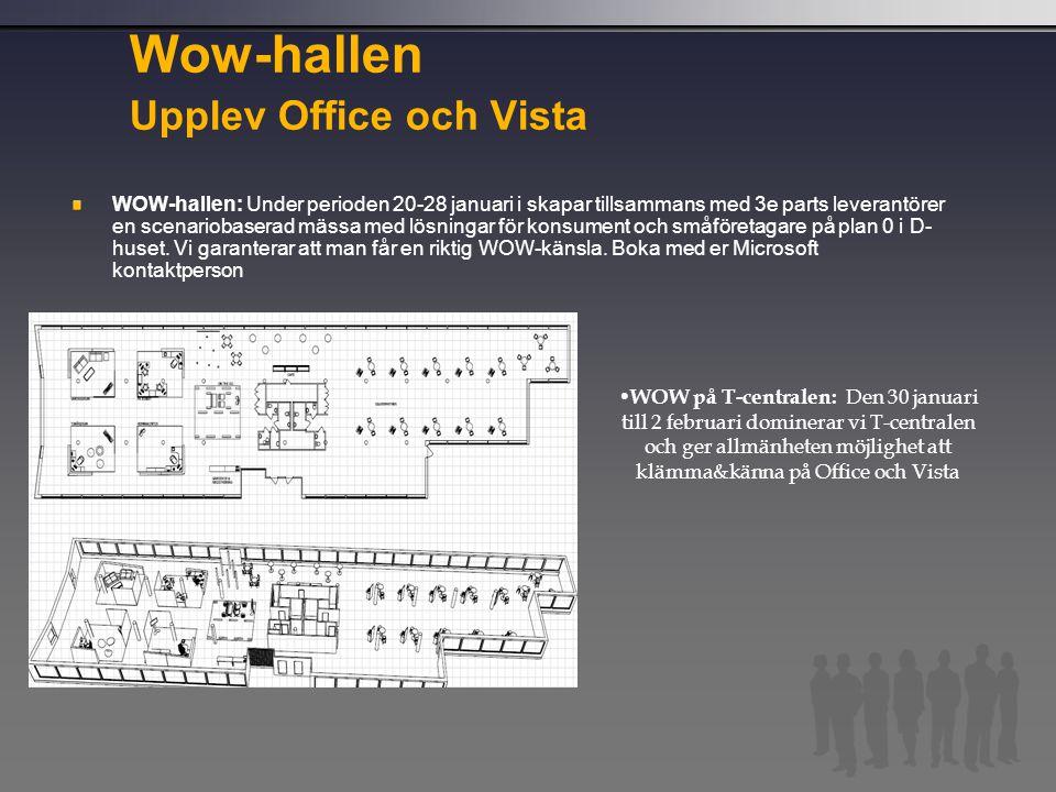 Wow-hallen Upplev Office och Vista WOW-hallen: Under perioden 20-28 januari i skapar tillsammans med 3e parts leverantörer en scenariobaserad mässa me