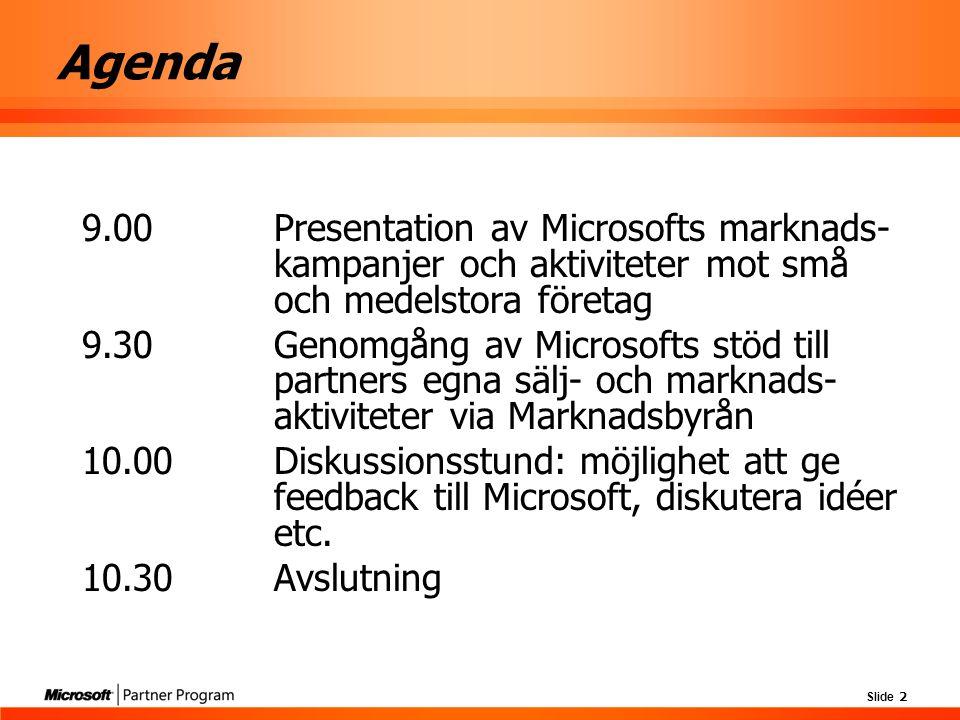 Slide 2 Agenda 9.00 Presentation av Microsofts marknads- kampanjer och aktiviteter mot små och medelstora företag 9.30 Genomgång av Microsofts stöd ti