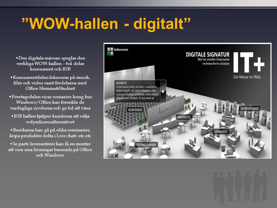 """""""WOW-hallen - digitalt"""" Den digitala mässan speglar den verkliga WOW-hallen – två delar konsument och B2B Konsumentdelen fokuserar på musik, film och"""
