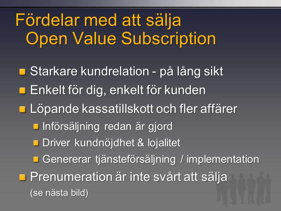 Fördelar med att sälja Open Value Subscription Starkare kundrelation - på lång sikt Enkelt för dig, enkelt för kunden Löpande kassatillskott och fler