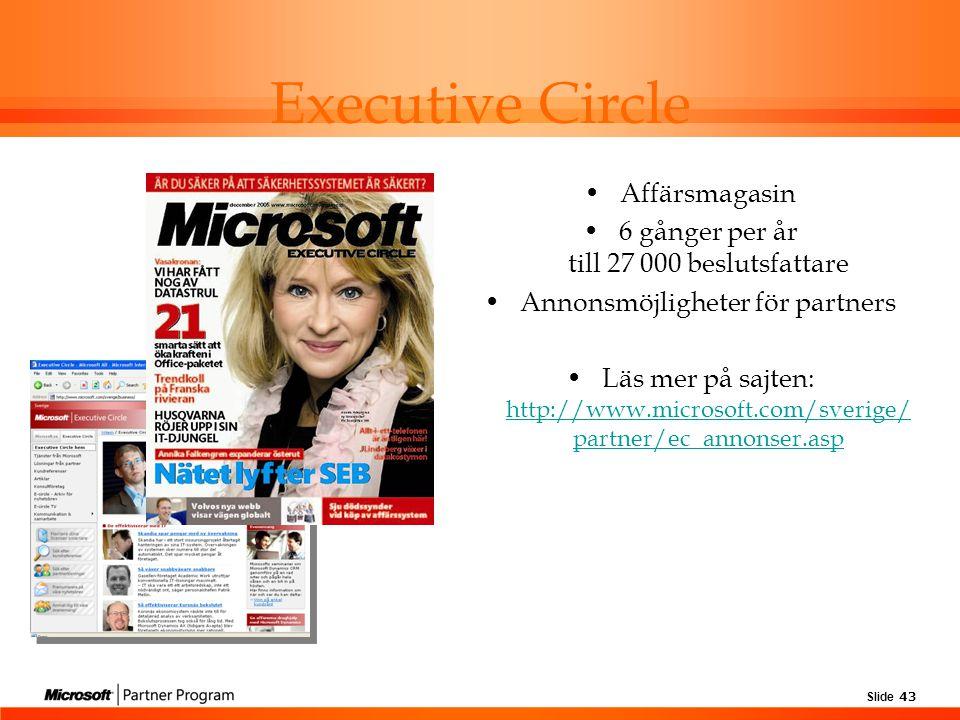 Slide 43 Affärsmagasin 6 gånger per år till 27 000 beslutsfattare Annonsmöjligheter för partners Läs mer på sajten: http://www.microsoft.com/sverige/