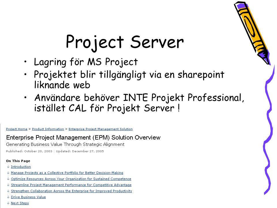Project Server Lagring för MS Project Projektet blir tillgängligt via en sharepoint liknande web Användare behöver INTE Projekt Professional, istället CAL för Projekt Server !