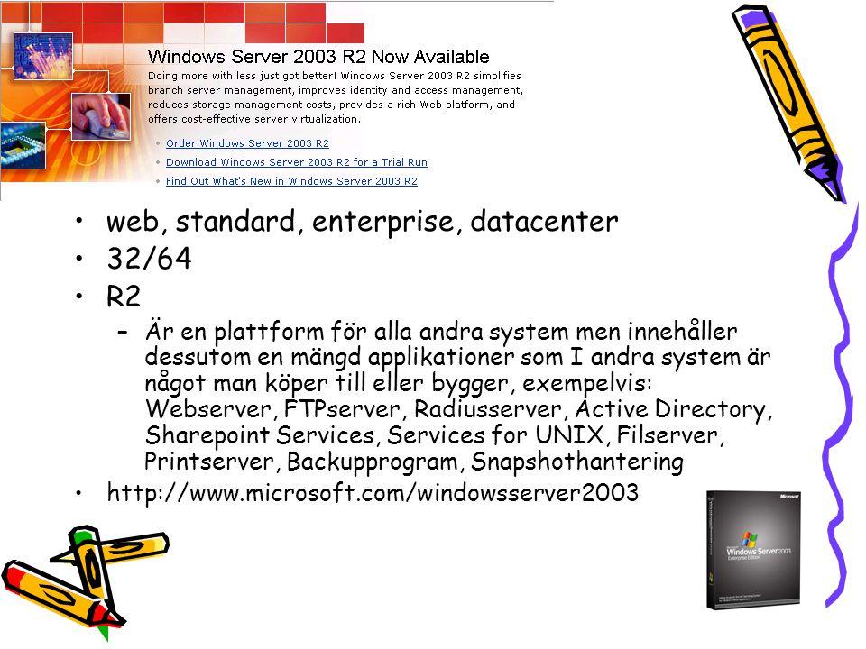 web, standard, enterprise, datacenter 32/64 R2 –Är en plattform för alla andra system men innehåller dessutom en mängd applikationer som I andra system är något man köper till eller bygger, exempelvis: Webserver, FTPserver, Radiusserver, Active Directory, Sharepoint Services, Services for UNIX, Filserver, Printserver, Backupprogram, Snapshothantering http://www.microsoft.com/windowsserver2003