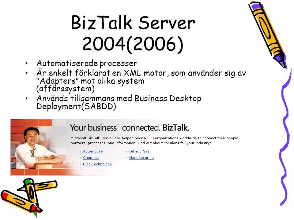 BizTalk Server 2004(2006) Automatiserade processer Är enkelt förklarat en XML motor, som använder sig av Adapters mot olika system (affärssystem) Används tillsammans med Business Desktop Deployment(SABDD)