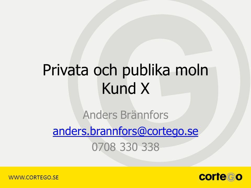 WWW.CORTEGO.SE Privata och publika moln Kund X Anders Brännfors anders.brannfors@cortego.se 0708 330 338