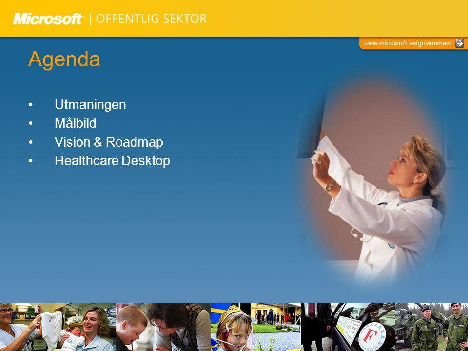 www.microsoft.se/government Agenda Utmaningen Målbild Vision & Roadmap Healthcare Desktop