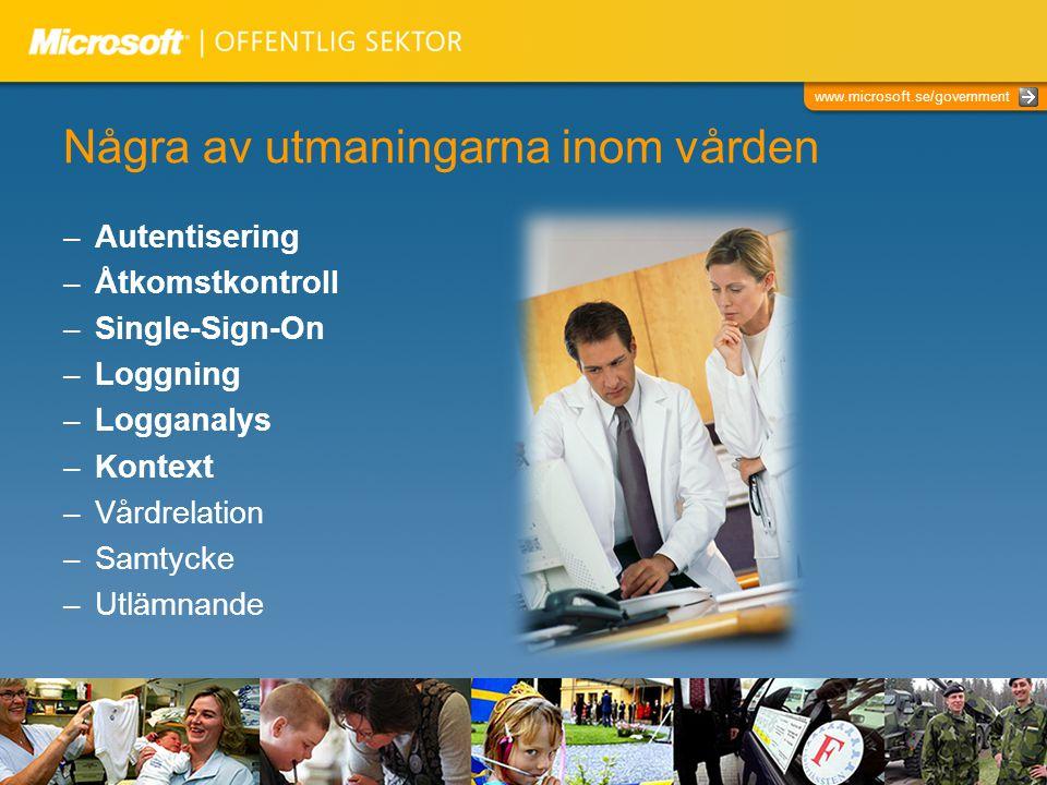 www.microsoft.se/government Några av utmaningarna inom vården – Autentisering – Åtkomstkontroll – Single-Sign-On – Loggning – Logganalys – Kontext – V
