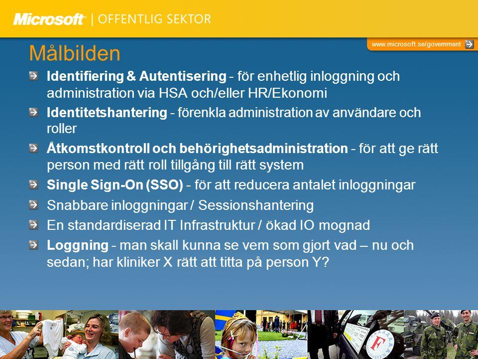 www.microsoft.se/government Målbilden Identifiering & Autentisering - för enhetlig inloggning och administration via HSA och/eller HR/Ekonomi Identite