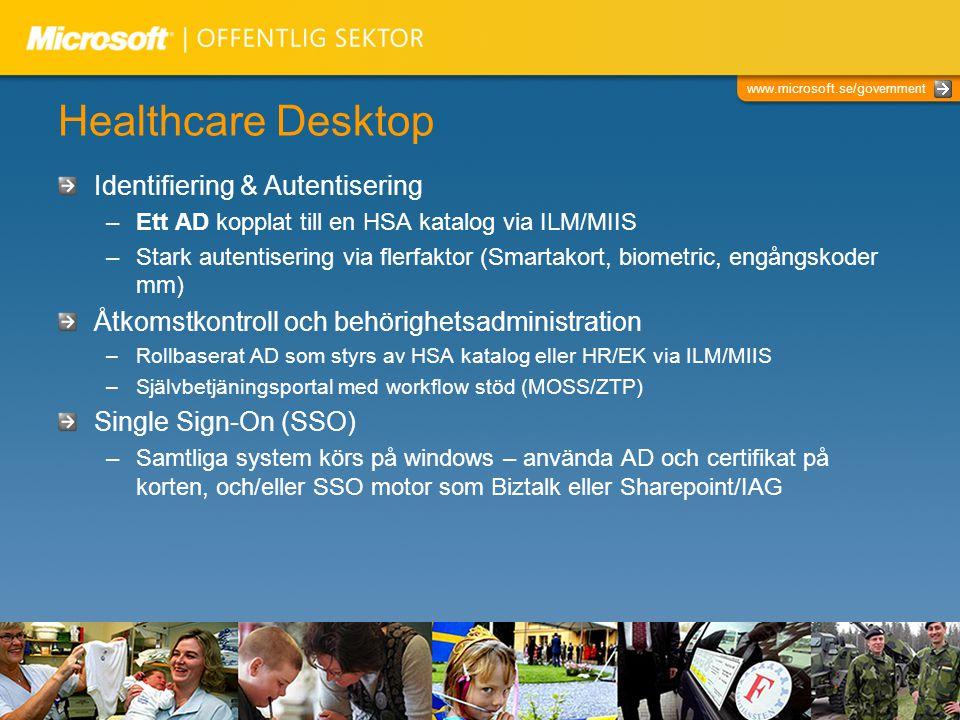 www.microsoft.se/government Healthcare Desktop Snabbare inlogging –Optimerad Windows klientdesign inklusive rollbasering –Windows Vista & Windows Server 2008 Loggning –Windows auditing, MOM, BizTalk för att konsolidera applikationernas interna loggar