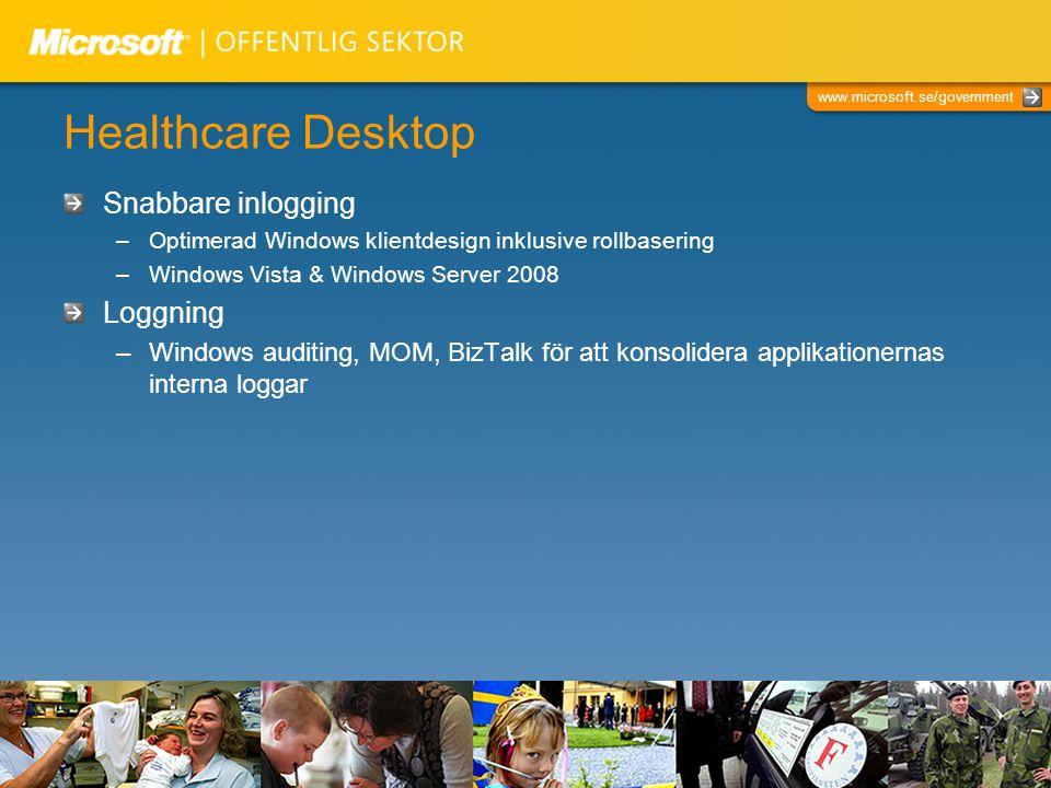 www.microsoft.se/government Healthcare Desktop Snabbare inlogging –Optimerad Windows klientdesign inklusive rollbasering –Windows Vista & Windows Serv
