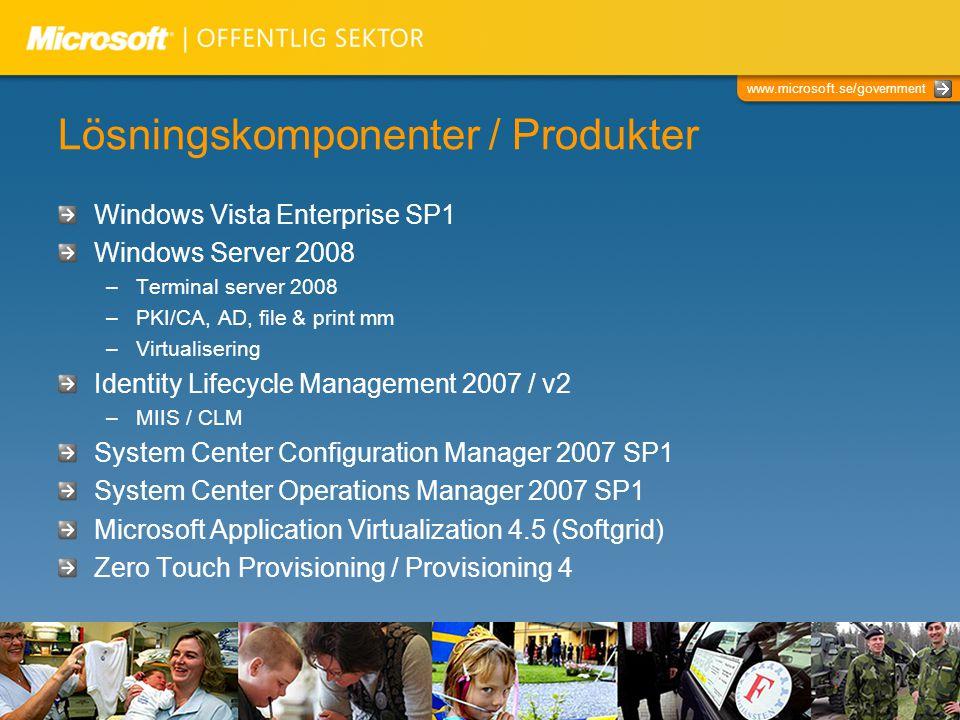 www.microsoft.se/government Lösningskomponenter / Produkter Windows Vista Enterprise SP1 Windows Server 2008 –Terminal server 2008 –PKI/CA, AD, file &